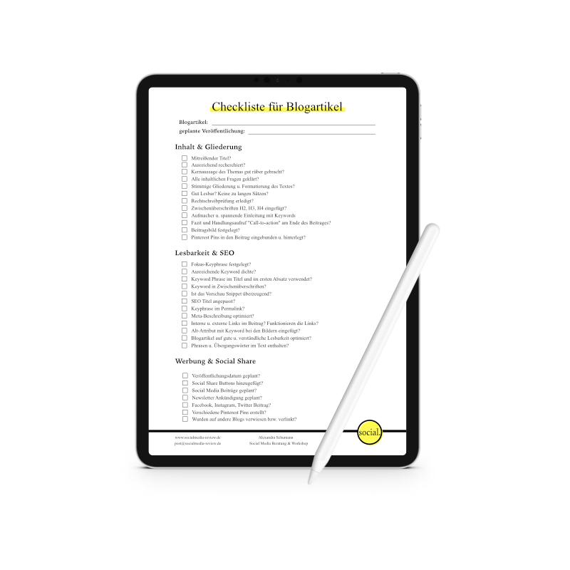 Checkliste für Blogartikel - Schumann Beratung